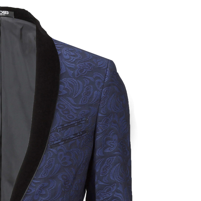Mens-Vintage-Jacquard-Floral-Print-Tuxedo-Suit-Jacket-Black-Velvet-Shawl-Lapel thumbnail 7
