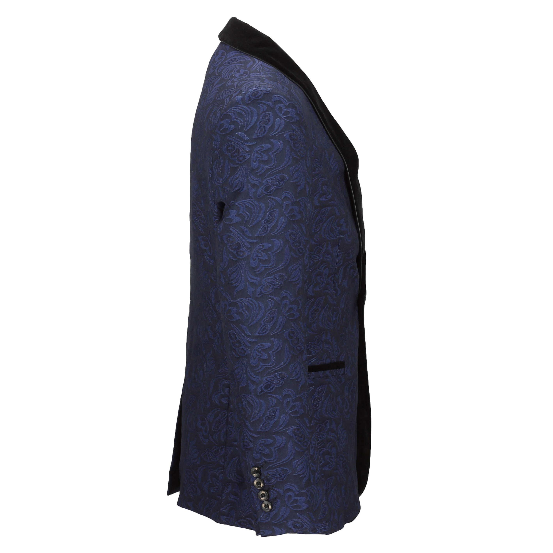 Mens-Vintage-Jacquard-Floral-Print-Tuxedo-Suit-Jacket-Black-Velvet-Shawl-Lapel thumbnail 8