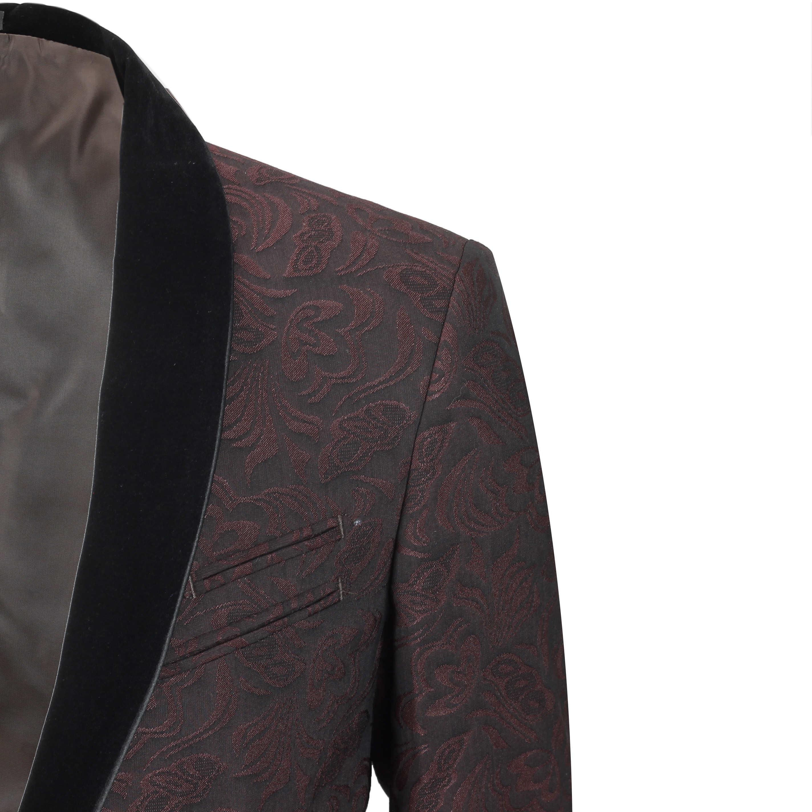 Mens-Vintage-Jacquard-Floral-Print-Tuxedo-Suit-Jacket-Black-Velvet-Shawl-Lapel thumbnail 11