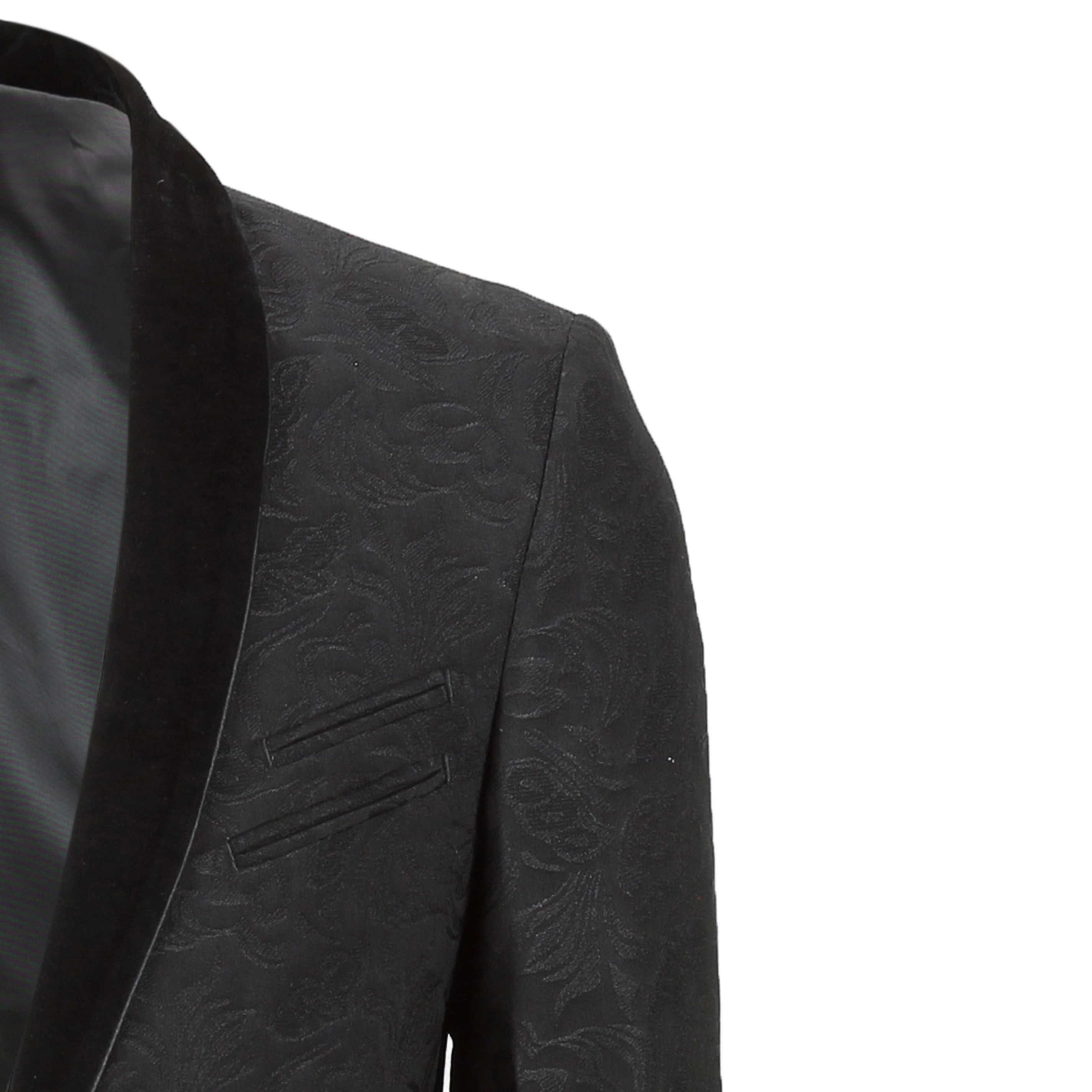 Mens-Vintage-Jacquard-Floral-Print-Tuxedo-Suit-Jacket-Black-Velvet-Shawl-Lapel thumbnail 3