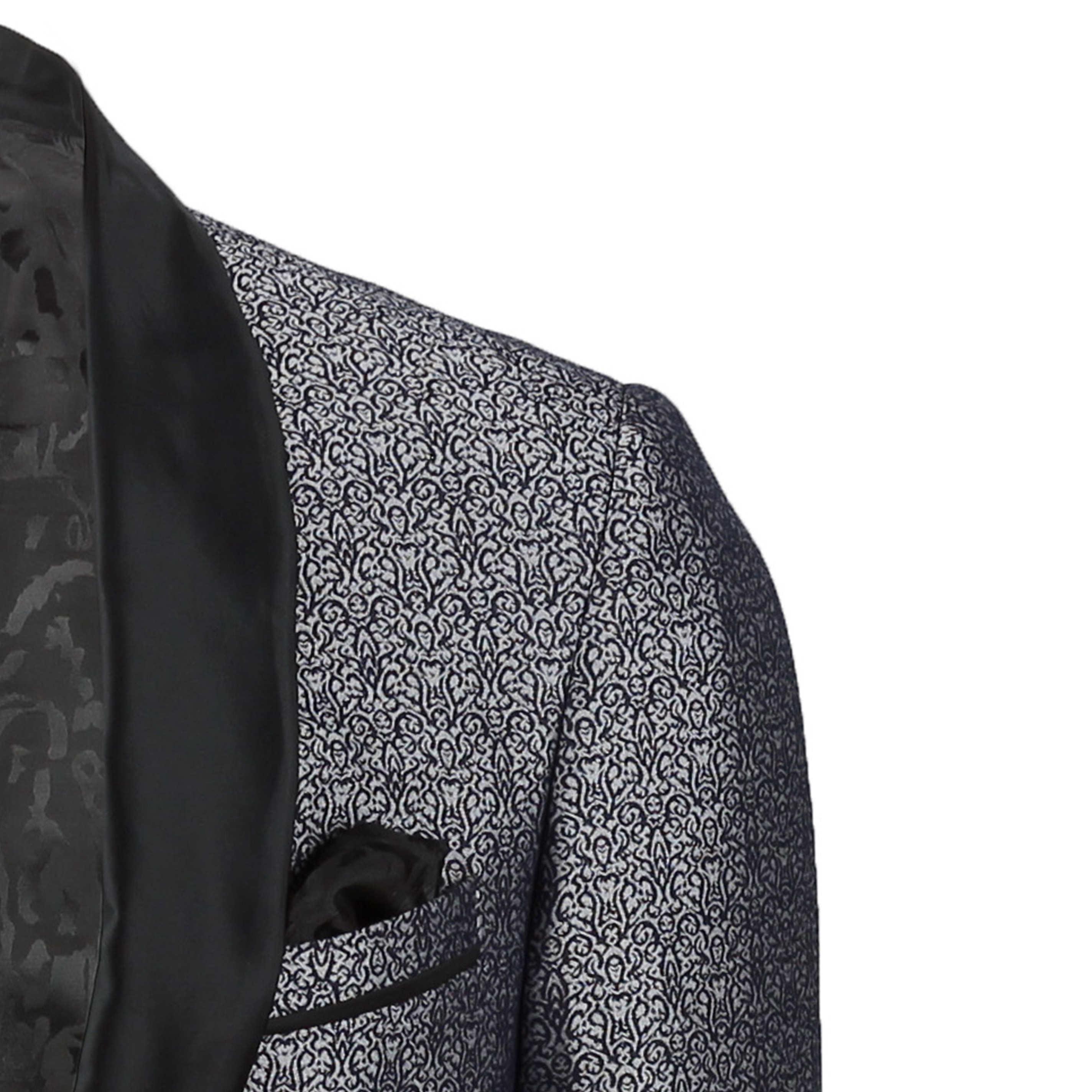 Para-hombre-traje-de-Esmoquin-Vintage-floral-del-damasco-Cena-Chaqueta-Boda-Fiesta-Formal-Blazer miniatura 7