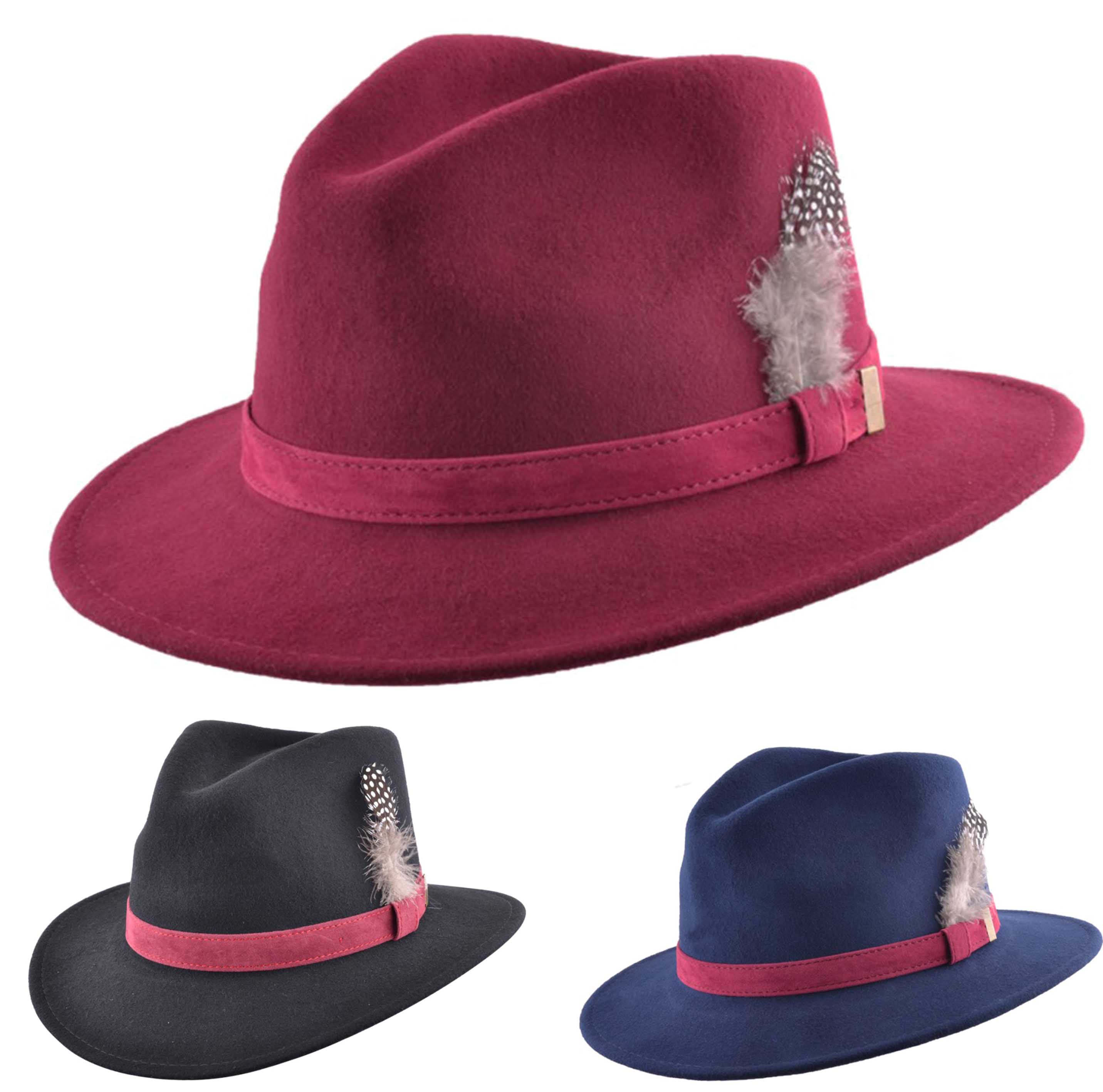 c6d18ea678 Details about Mens Ladies 100% Wool Felt Crushable Fedora Trilby Hat  Feather Black Navy Wine
