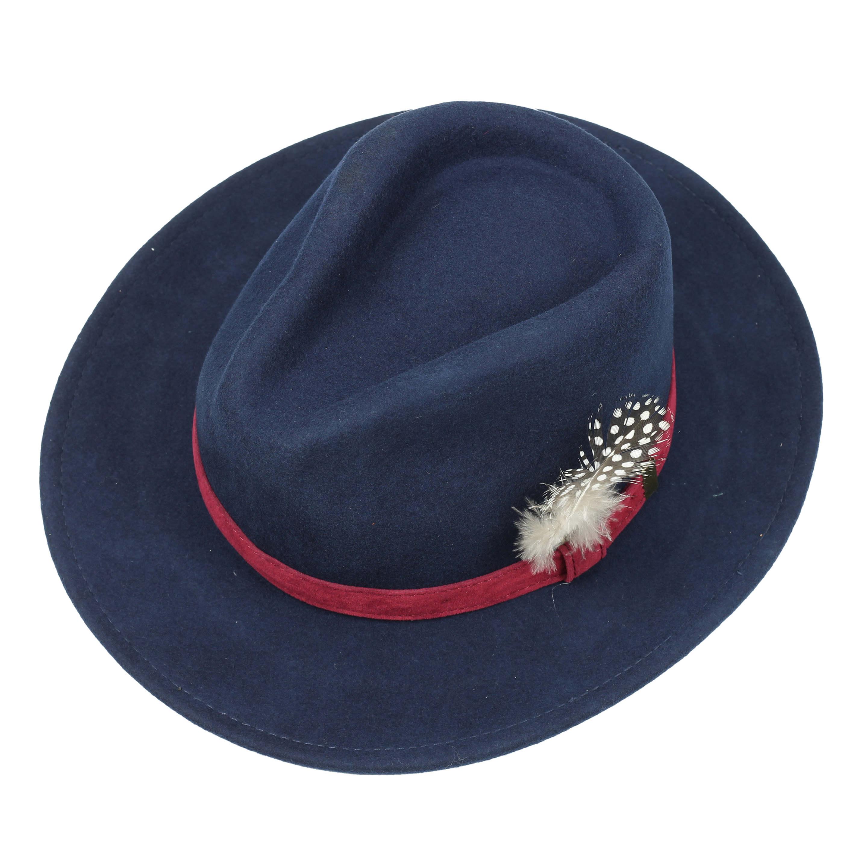 bf563a14 Mens Ladies 100% Wool Felt Crushable Fedora Trilby Hat Feather Black ...