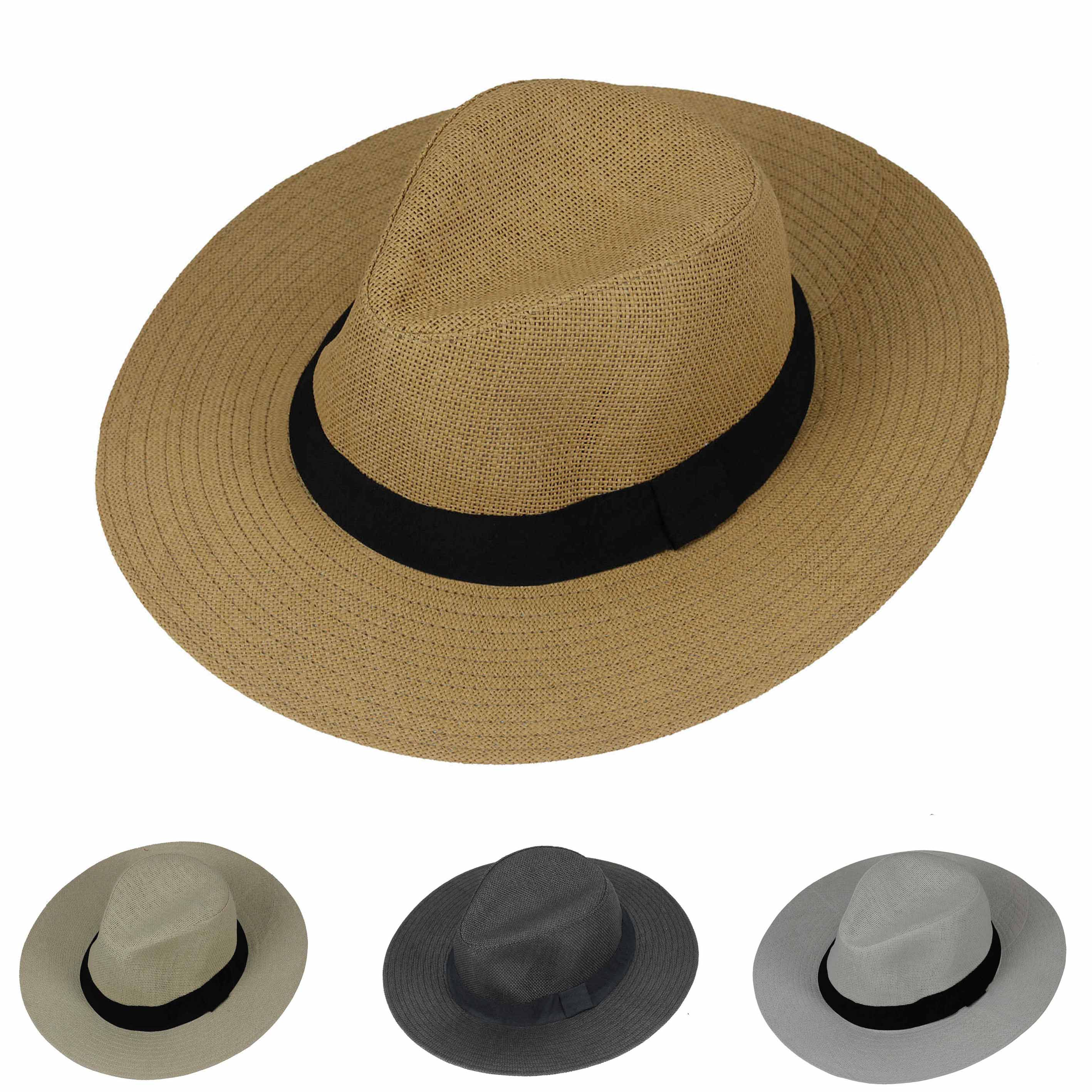 beaf9e31551 New Mens Ladies Womens Straw Panama Hat Wide Brim Fedora Trilby Style  Summer Cap