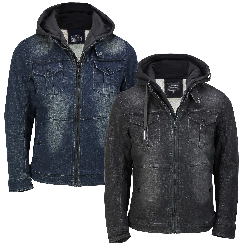 Mens Winter Denim Jacket Warm Fleece Lined Retro Smart Casual Detach