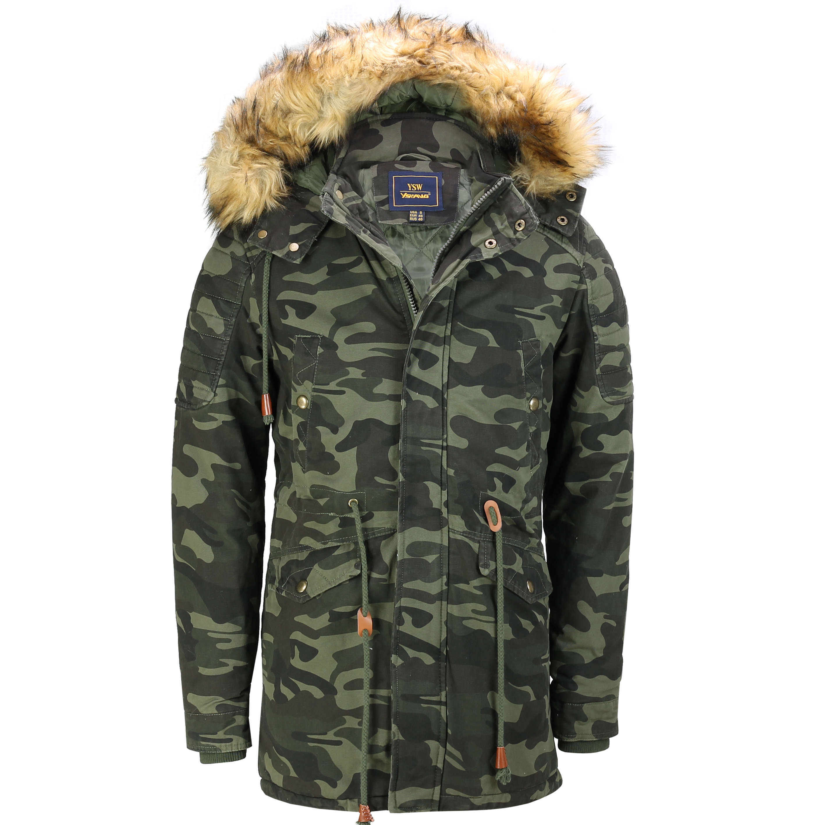 Generic Mens Leisure Zip Stand Collar Faux Fur Lined Padded Thick Down Jacket Coat