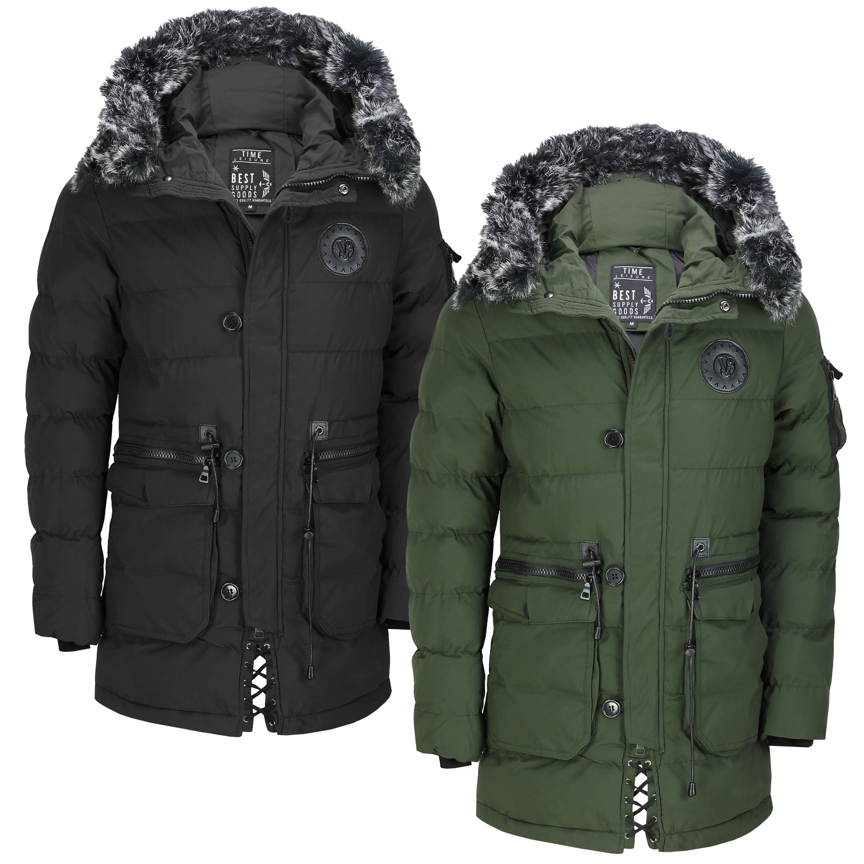 GenericMen Faux Fur Hooded Cotton Padded Outerwear Parka Coats