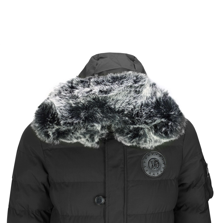 Mens Warm Winter Puffer Jacket Padded Parka Black Fur Trim