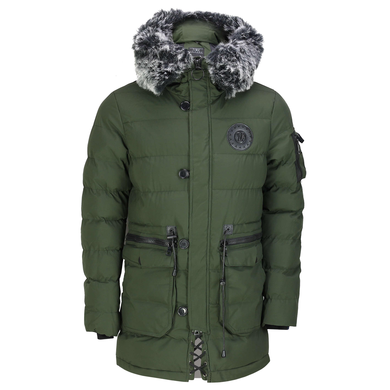 6d8240111 Details about Mens Warm Winter Puffer Jacket Padded Parka Black Fur Trim  Hood Waterproof Coat
