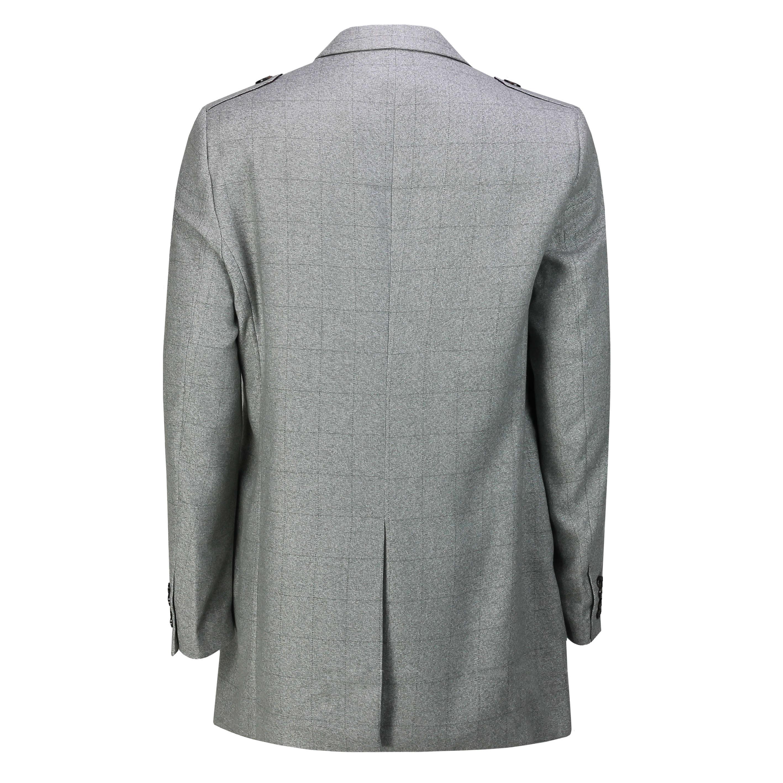 Da Uomo 3//4 lungo cappotto giacca Cappotto Tweed Tailored Fit Peaky Blinder Grigio