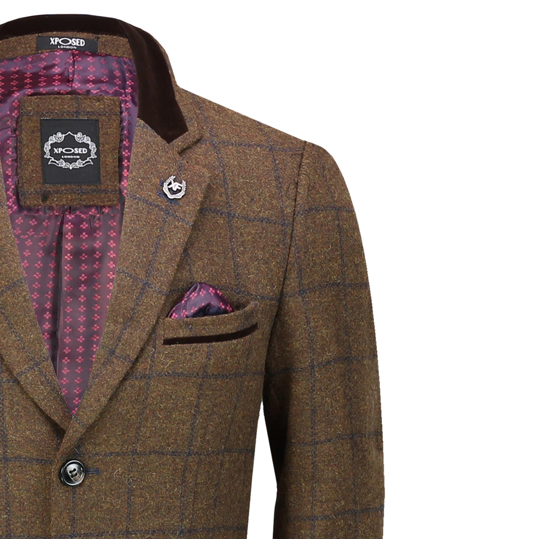 Mens 3//4 Long Tan Brown Check Herringbone Tweed Crombie Overcoat Winter Retro