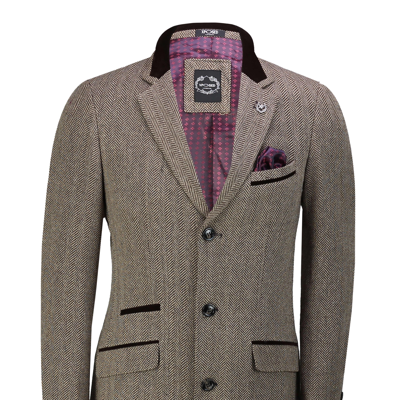 Mens Overcoat 3/4 Long Jacket Vintage Herringbone Velvet