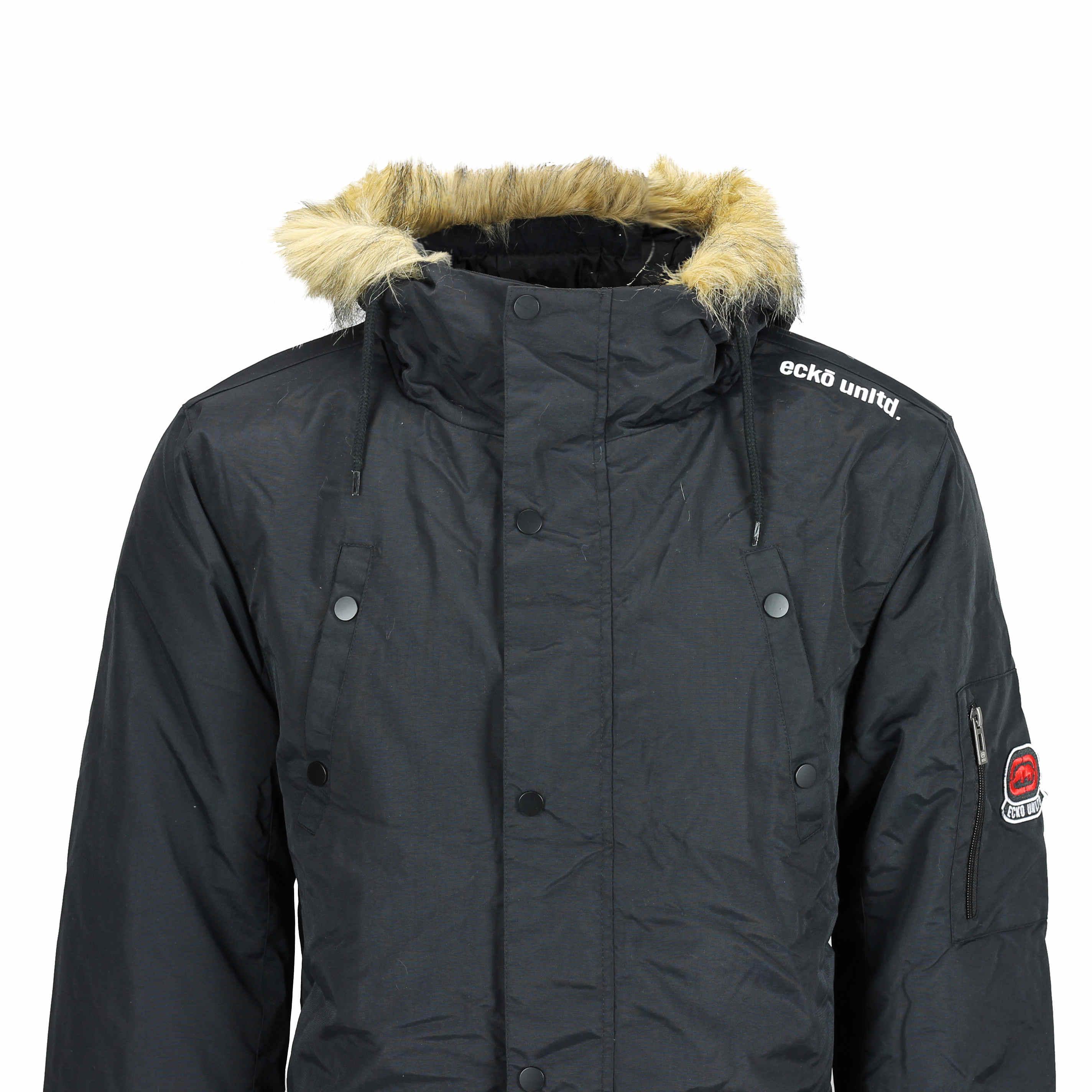 Black parka jacket with hood