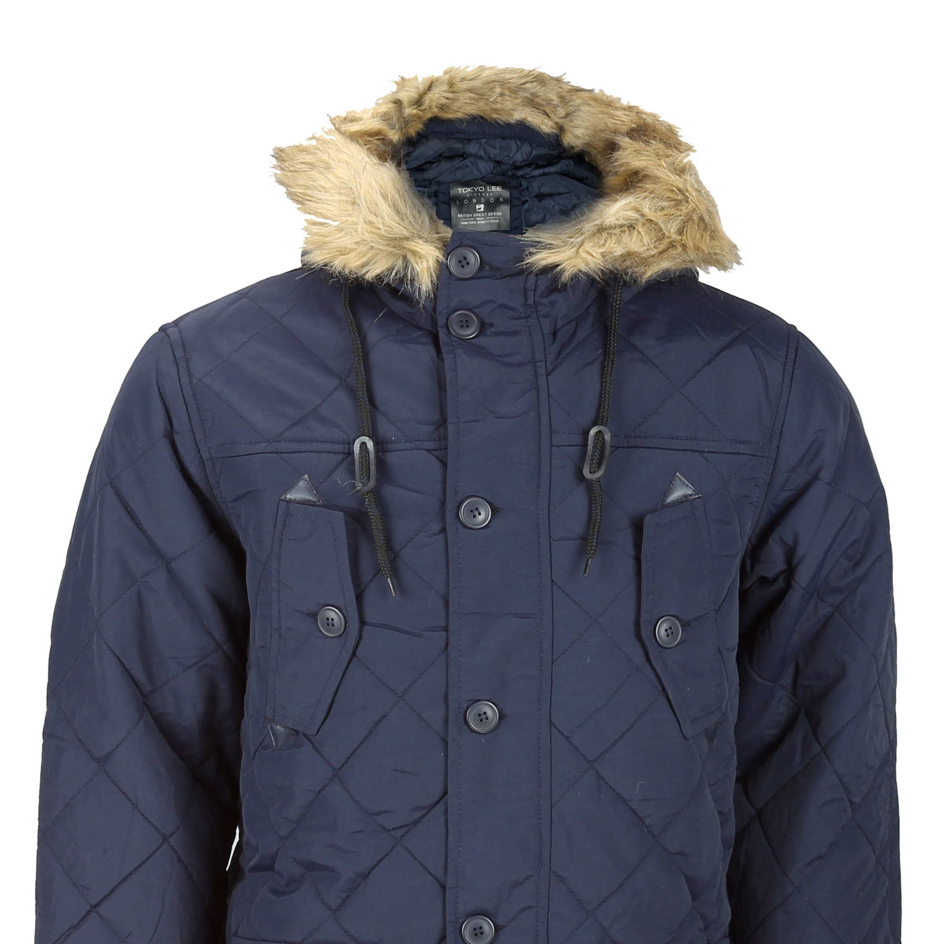 9caa1f711 Details about New Mens Blue Quilted Parka Jacket Fur Trim Hood Padded Warm  Winter Puffer Coat