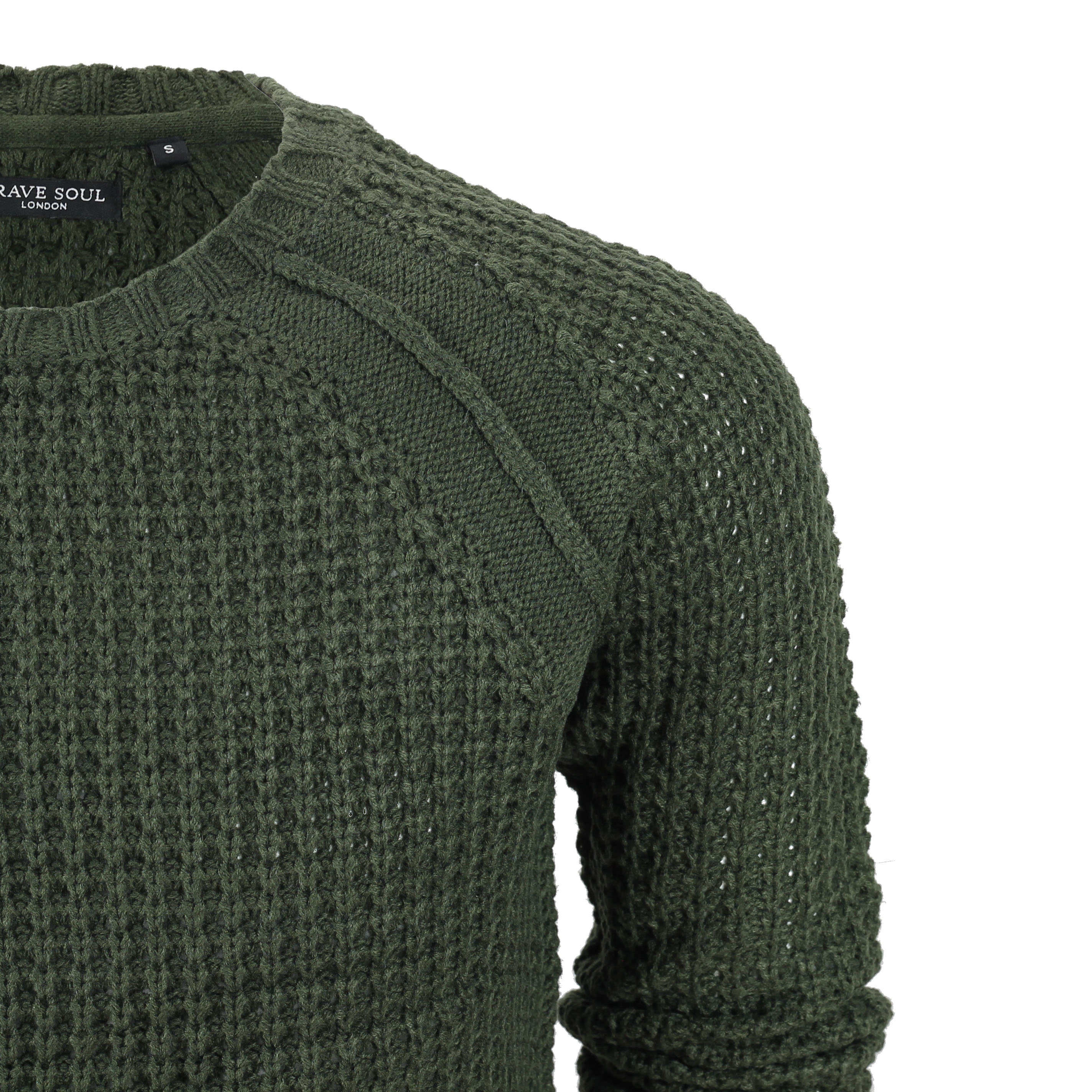 6cfa405bc01 Details about New Mens Brave Soul Vintage Fisherman Cable Knit Jumper  Knitted Winter Sweater