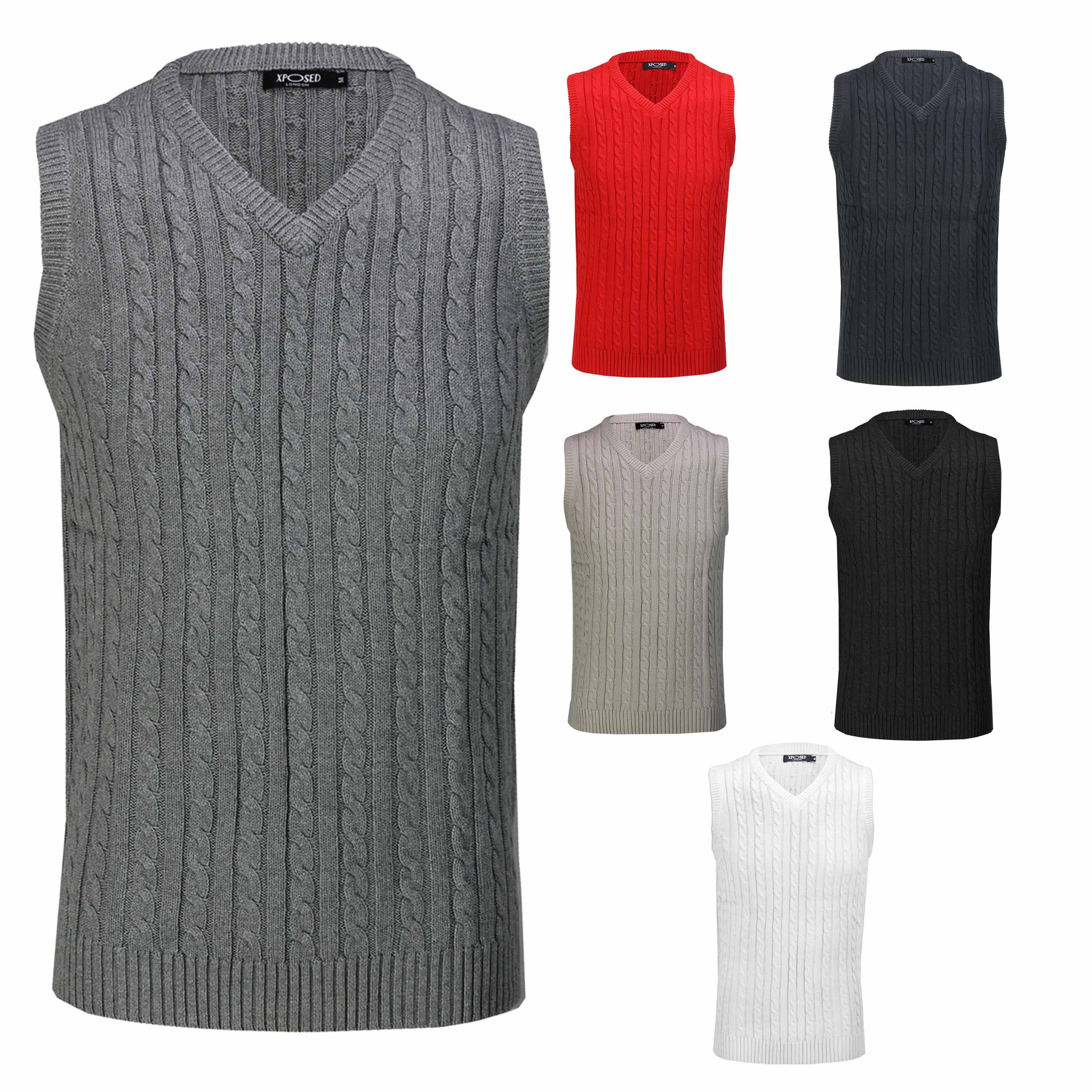 Details about Mens Classic Cable Knitted Sleeveless V Neck Jumper Smart Casual Sweater Vest