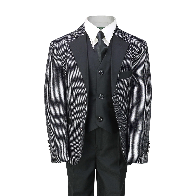 Boys Childrens Tweed Suit Smart Wedding Party Formal Blazer Waistcoat Trouser