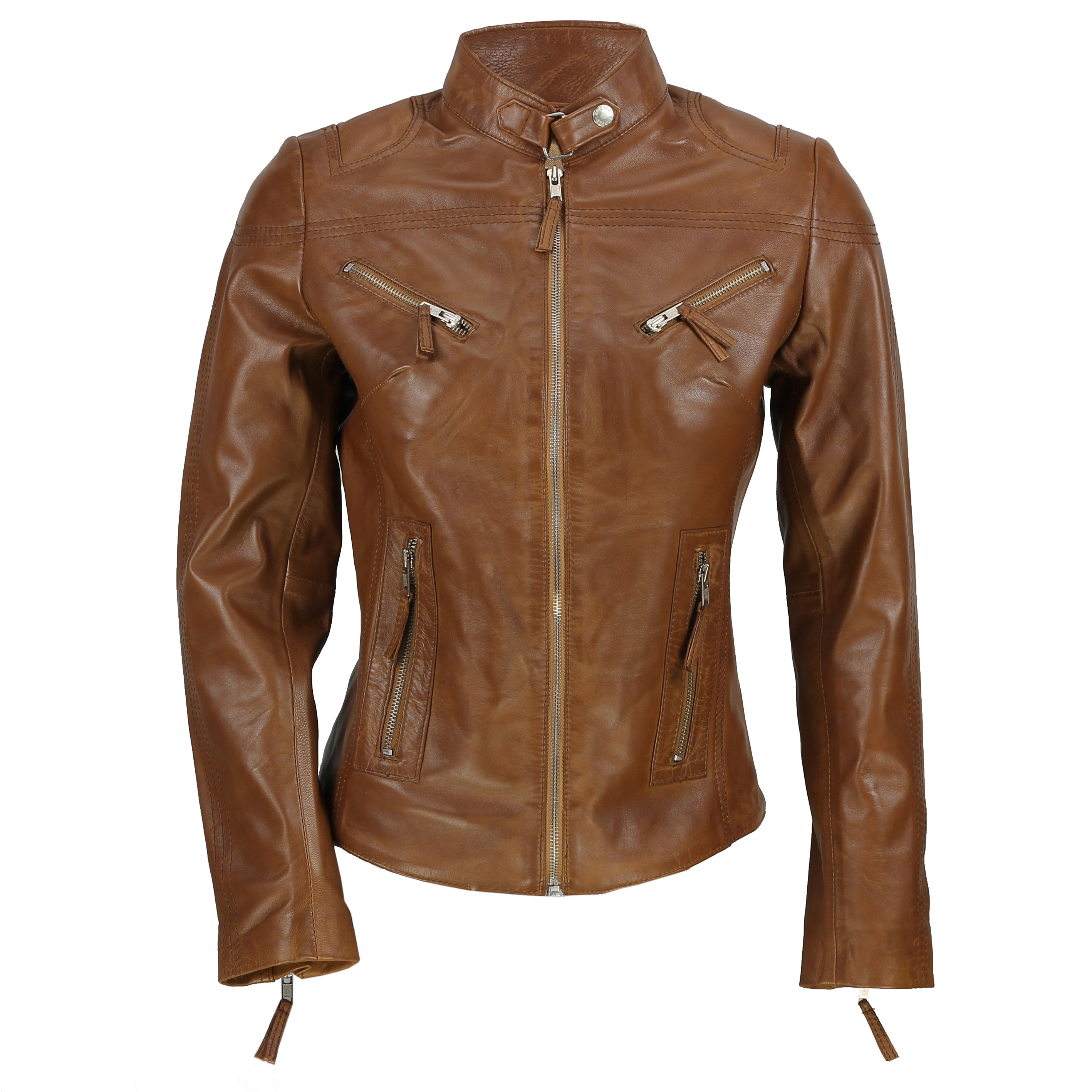 25e54d22 Details about Ladies Women's Real Leather Vintage Fitted Tan Brown Biker  Jacket Size S – 5XL
