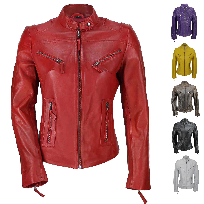 860a4e351fc Ladies Womens Genuine Real Leather Vintage Slim Fit Red Brown Biker Jacket