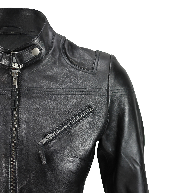 Ladies-Womens-Genuine-Real-Leather-Vintage-Slim-Fit-Red-Brown-Biker-Jacket thumbnail 4