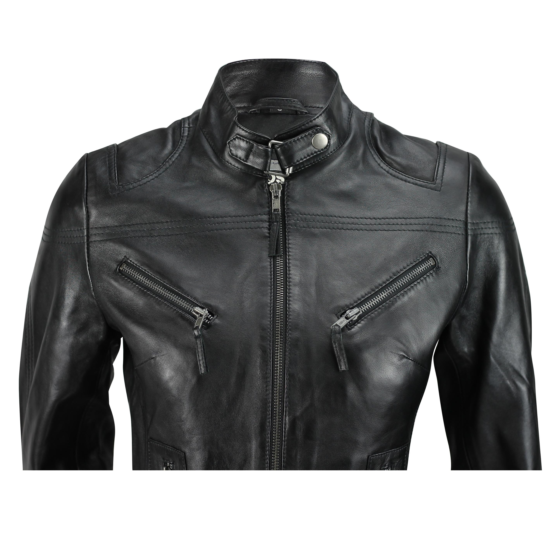 Ladies-Womens-Genuine-Real-Leather-Vintage-Slim-Fit-Red-Brown-Biker-Jacket thumbnail 5