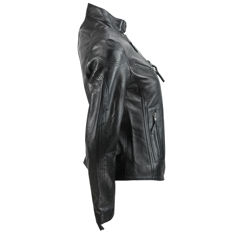 Ladies-Womens-Genuine-Real-Leather-Vintage-Slim-Fit-Red-Brown-Biker-Jacket thumbnail 6