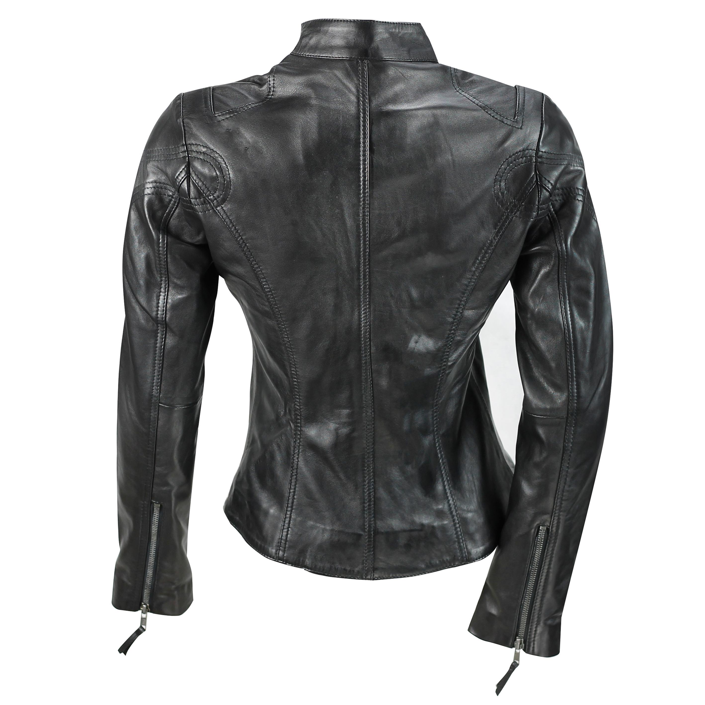 Ladies-Womens-Genuine-Real-Leather-Vintage-Slim-Fit-Red-Brown-Biker-Jacket thumbnail 7