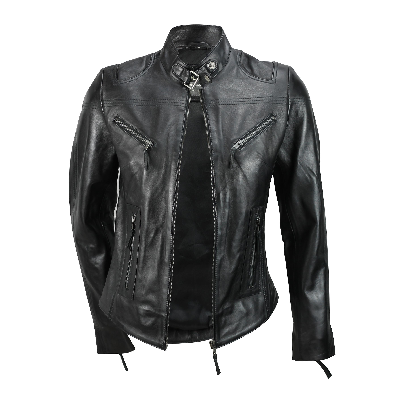 Ladies-Womens-Genuine-Real-Leather-Vintage-Slim-Fit-Red-Brown-Biker-Jacket thumbnail 8
