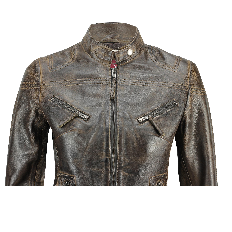 Ladies-Womens-Genuine-Real-Leather-Vintage-Slim-Fit-Red-Brown-Biker-Jacket thumbnail 10
