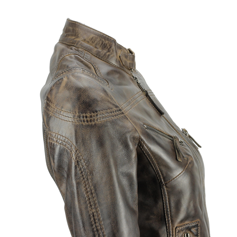 Ladies-Womens-Genuine-Real-Leather-Vintage-Slim-Fit-Red-Brown-Biker-Jacket thumbnail 12