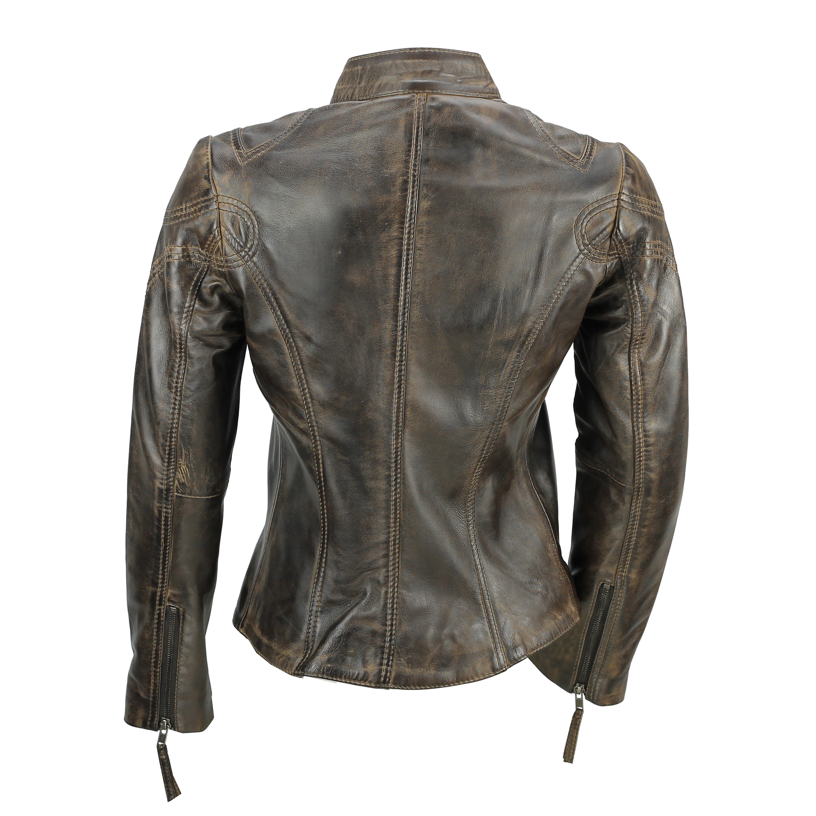Ladies-Womens-Genuine-Real-Leather-Vintage-Slim-Fit-Red-Brown-Biker-Jacket