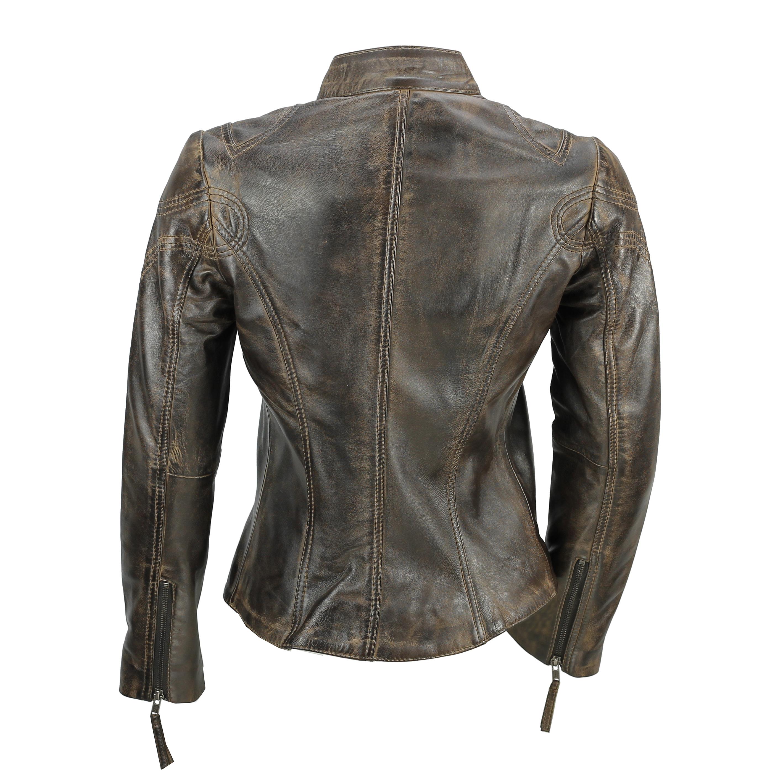 Ladies-Womens-Genuine-Real-Leather-Vintage-Slim-Fit-Red-Brown-Biker-Jacket thumbnail 13