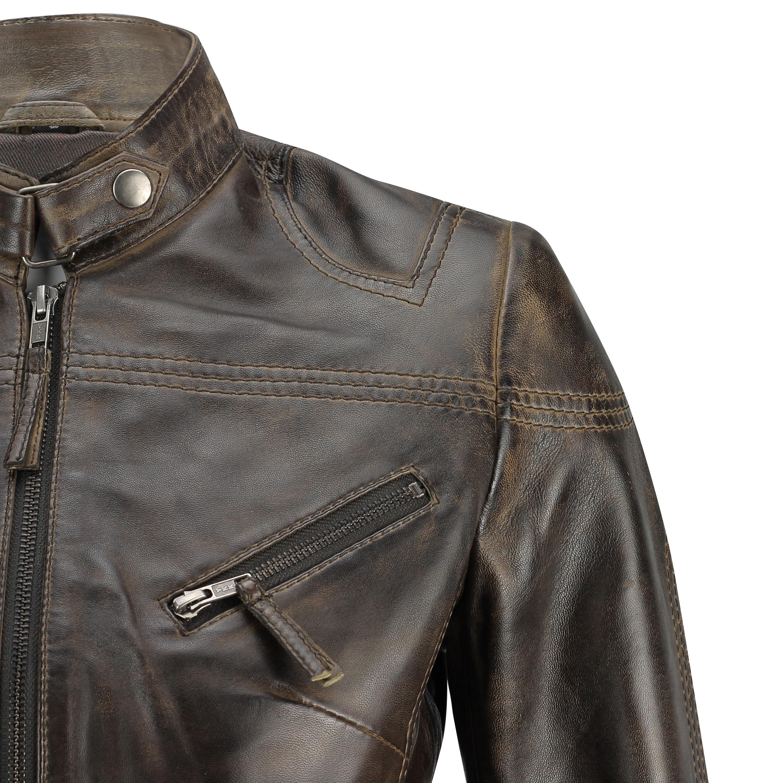 Ladies-Womens-Genuine-Real-Leather-Vintage-Slim-Fit-Red-Brown-Biker-Jacket thumbnail 14
