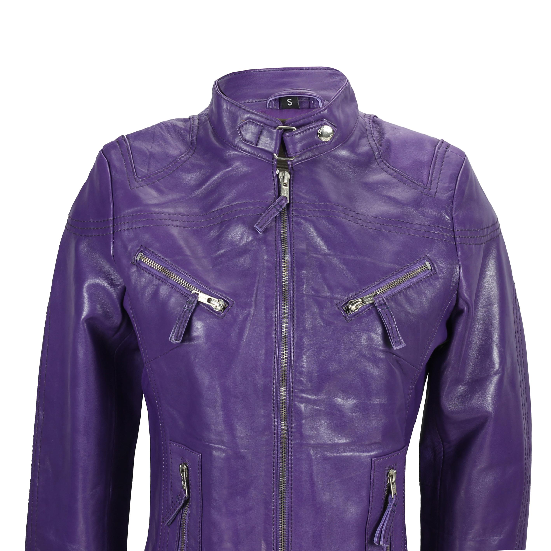Ladies-Womens-Genuine-Real-Leather-Vintage-Slim-Fit-Red-Brown-Biker-Jacket thumbnail 16