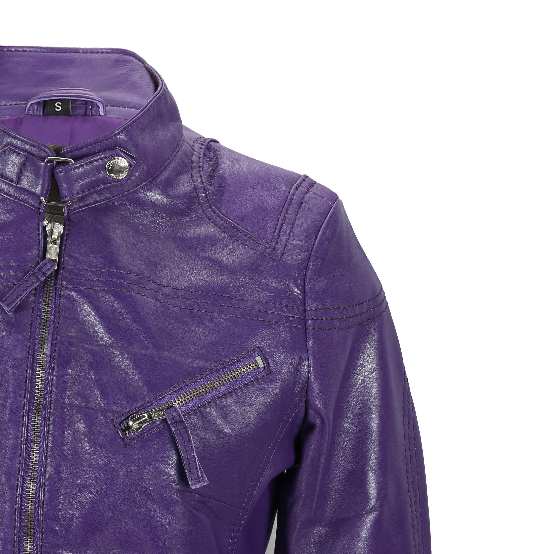 Ladies-Womens-Genuine-Real-Leather-Vintage-Slim-Fit-Red-Brown-Biker-Jacket thumbnail 17