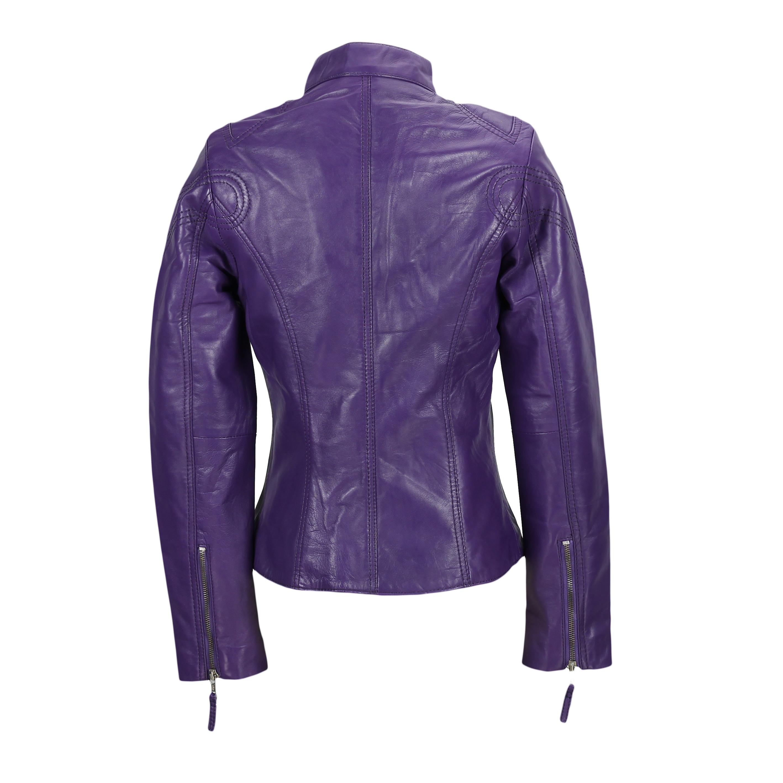 Ladies-Womens-Genuine-Real-Leather-Vintage-Slim-Fit-Red-Brown-Biker-Jacket thumbnail 19