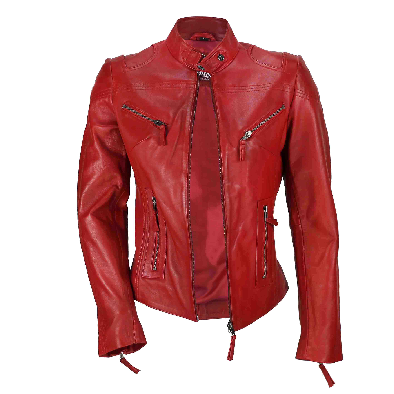 Ladies-Womens-Genuine-Real-Leather-Vintage-Slim-Fit-Red-Brown-Biker-Jacket thumbnail 21