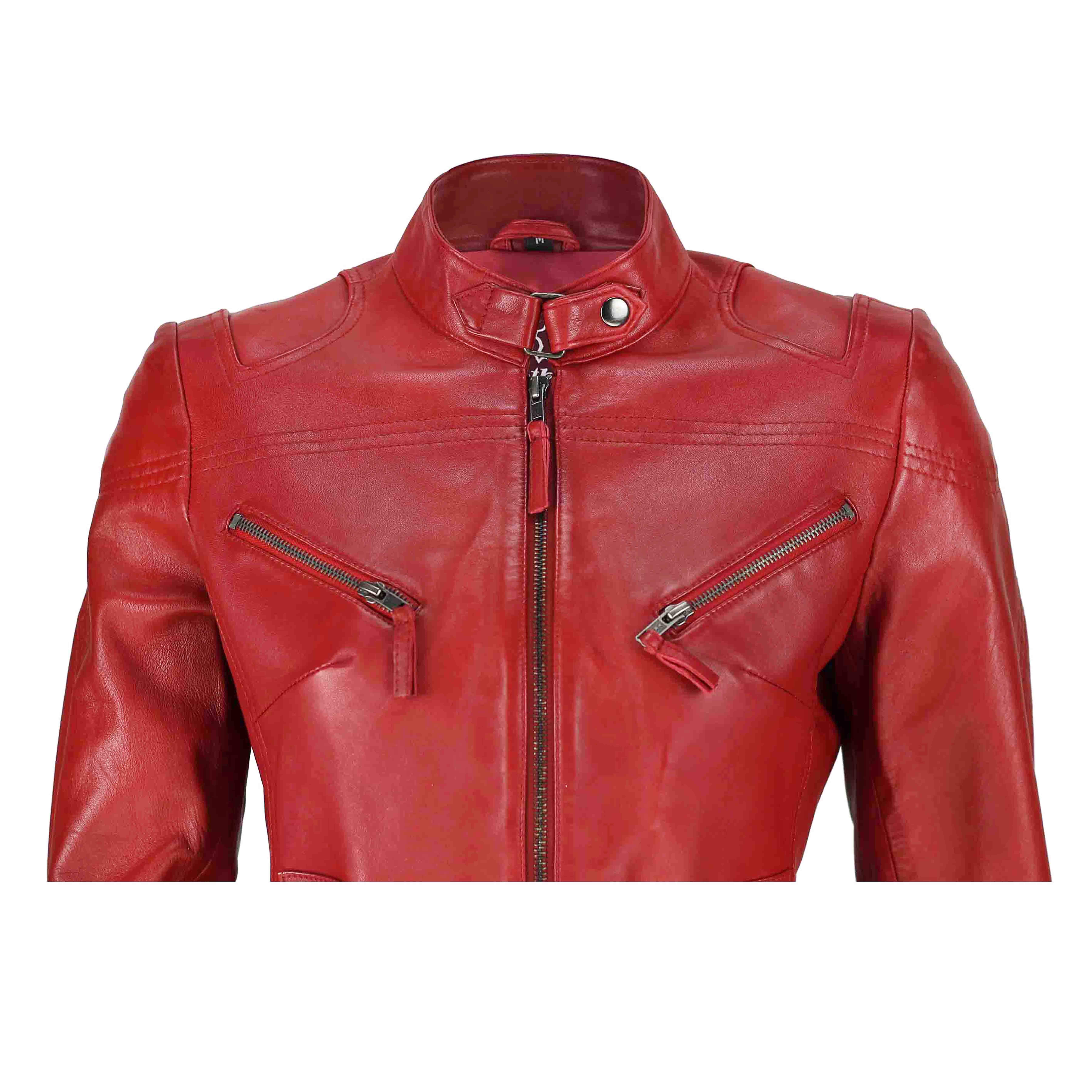 Ladies-Womens-Genuine-Real-Leather-Vintage-Slim-Fit-Red-Brown-Biker-Jacket thumbnail 22