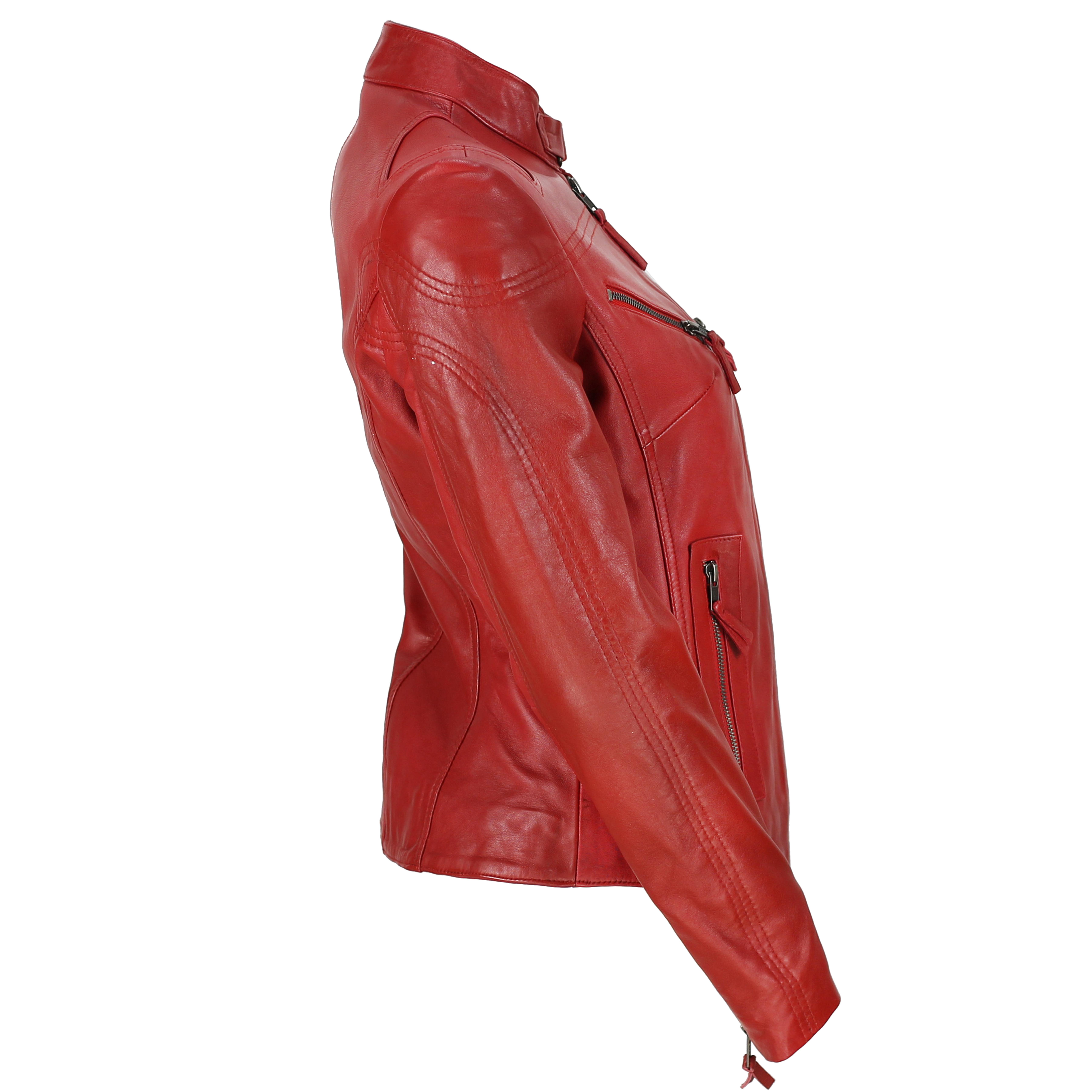 Ladies-Womens-Genuine-Real-Leather-Vintage-Slim-Fit-Red-Brown-Biker-Jacket thumbnail 23