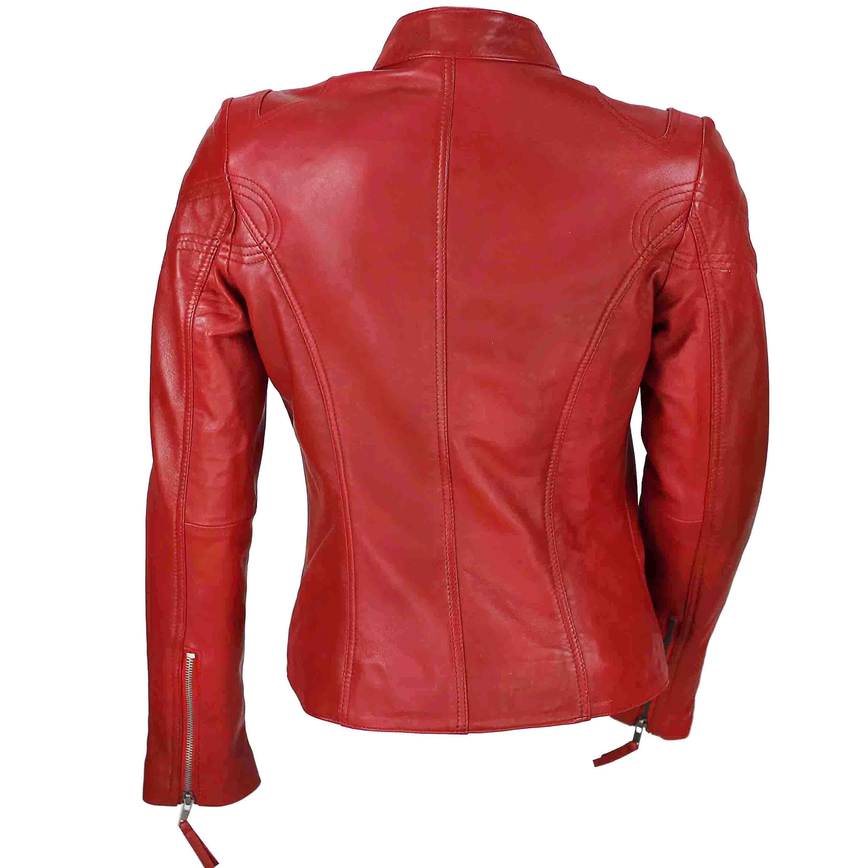 Ladies-Womens-Genuine-Real-Leather-Vintage-Slim-Fit-Red-Brown-Biker-Jacket thumbnail 24