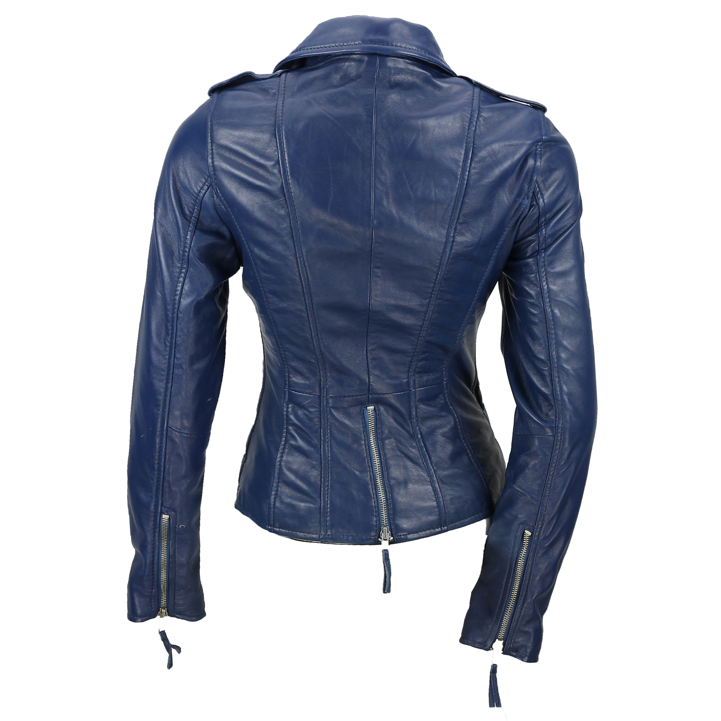 Ladies Womens Tan Blue Real Leather Fitted Vintage Biker ...