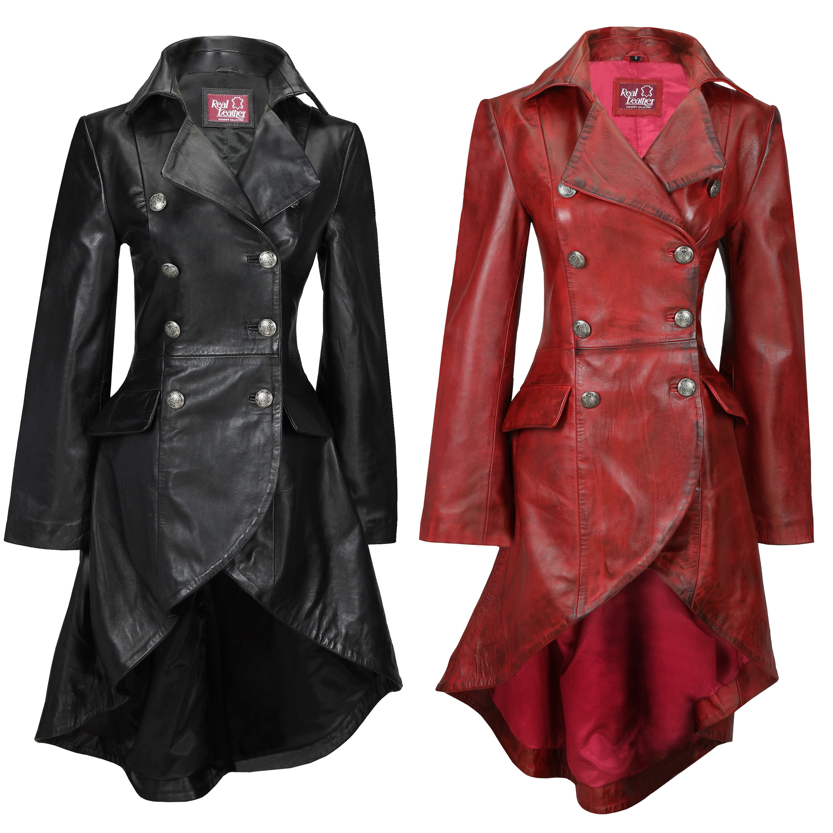fde978cdf Details about Ladies Real Leather Black Gothic Jacket Fitted Victorian  Style Lace Back Coat