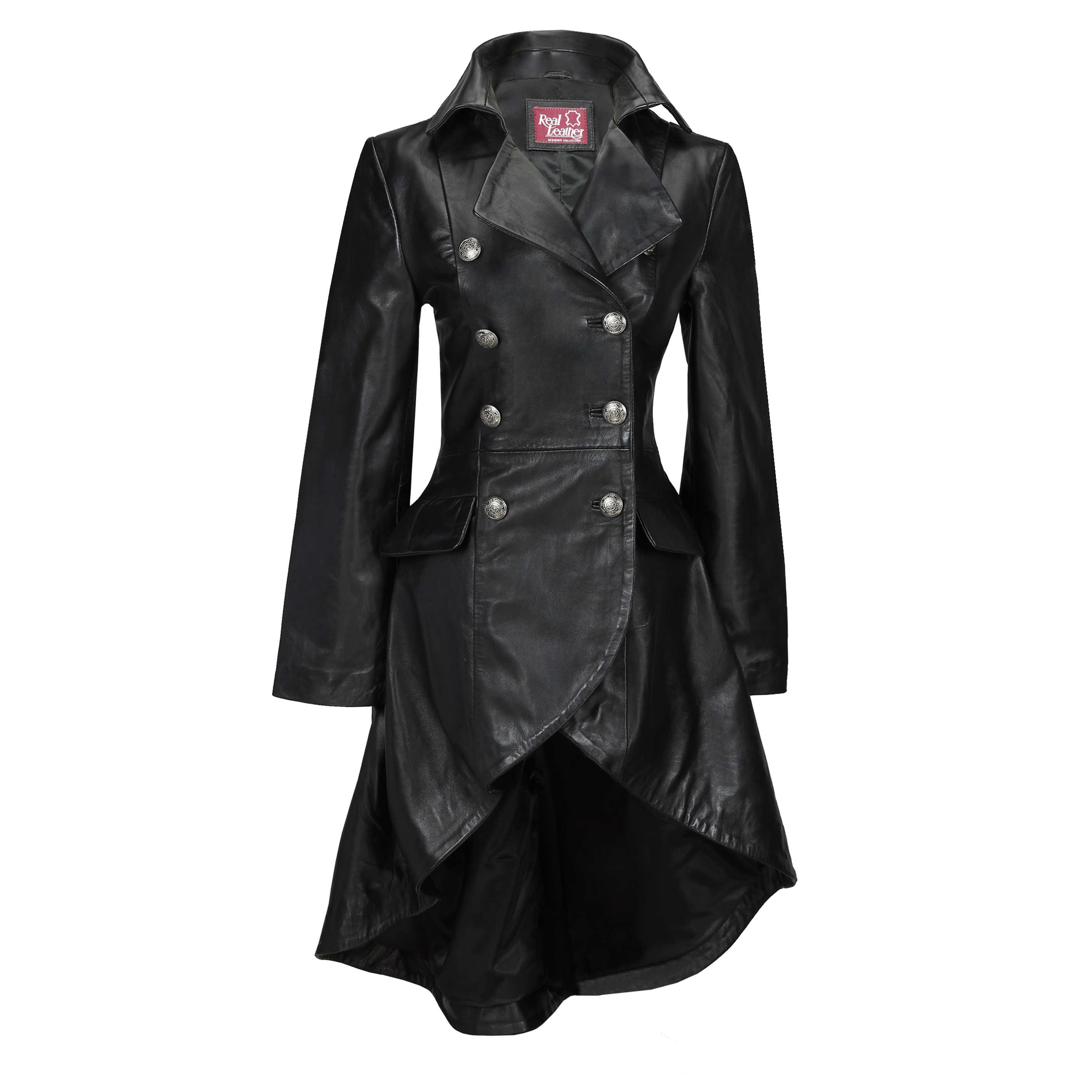 6c7b8fce74d72 Victorian Leather Coat Gothic Black Real Black Style Lace Jacket ...