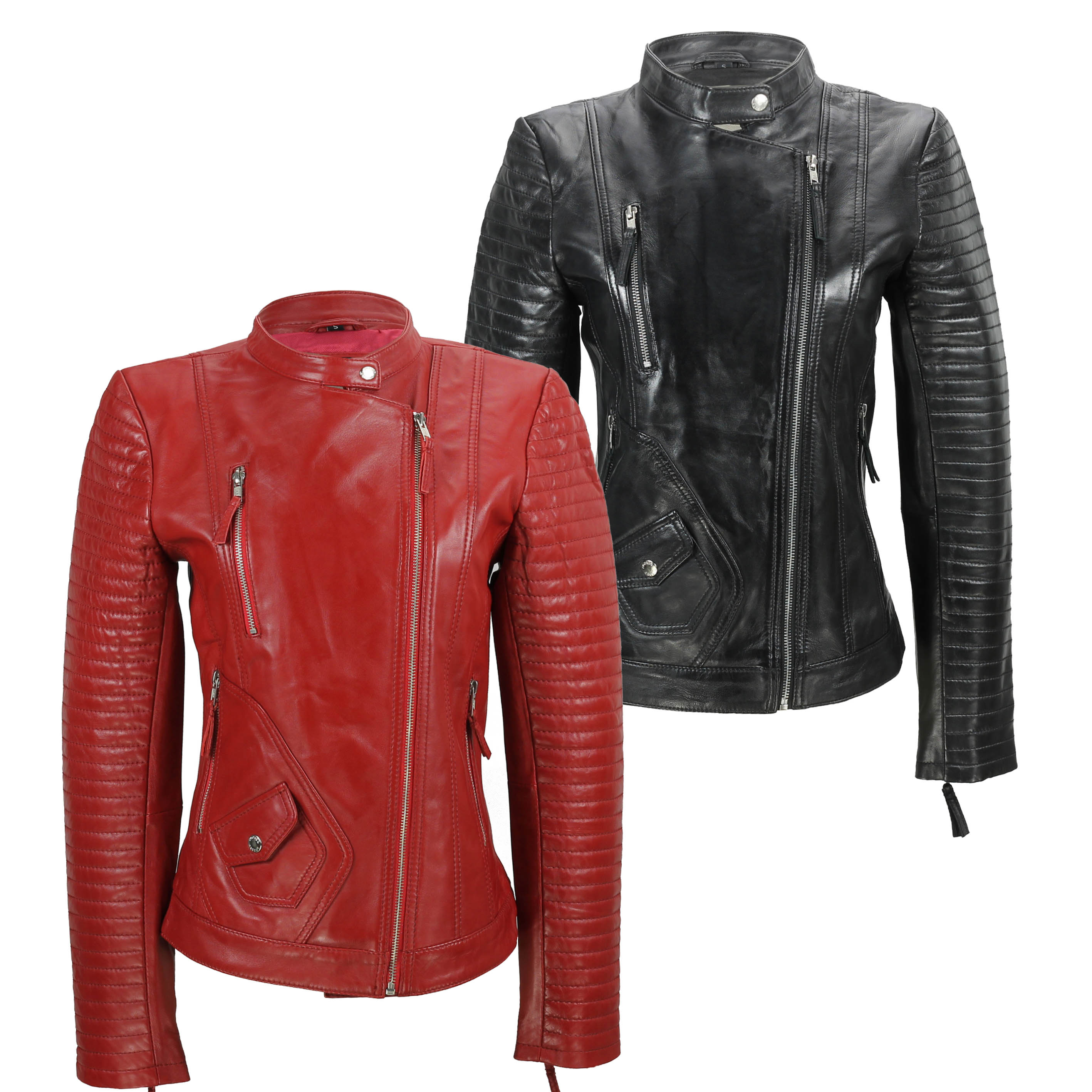 127a6cf07 Details about Ladies Women's Real Soft Leather Biker Jacket Vintage Fitted  Style in Black Red