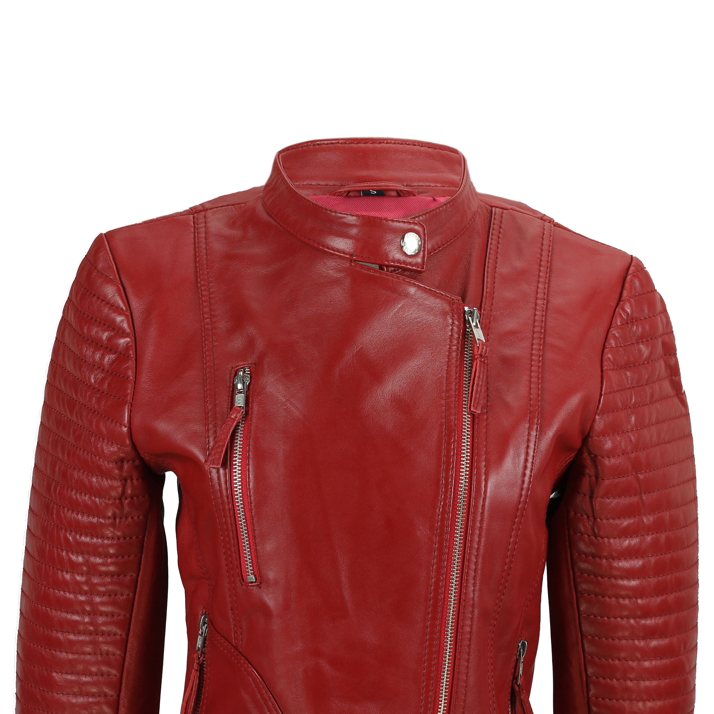 e23bfd8ea Details about Ladies Women's Real Soft Leather Biker Jacket Vintage Fitted  Style in Black Red