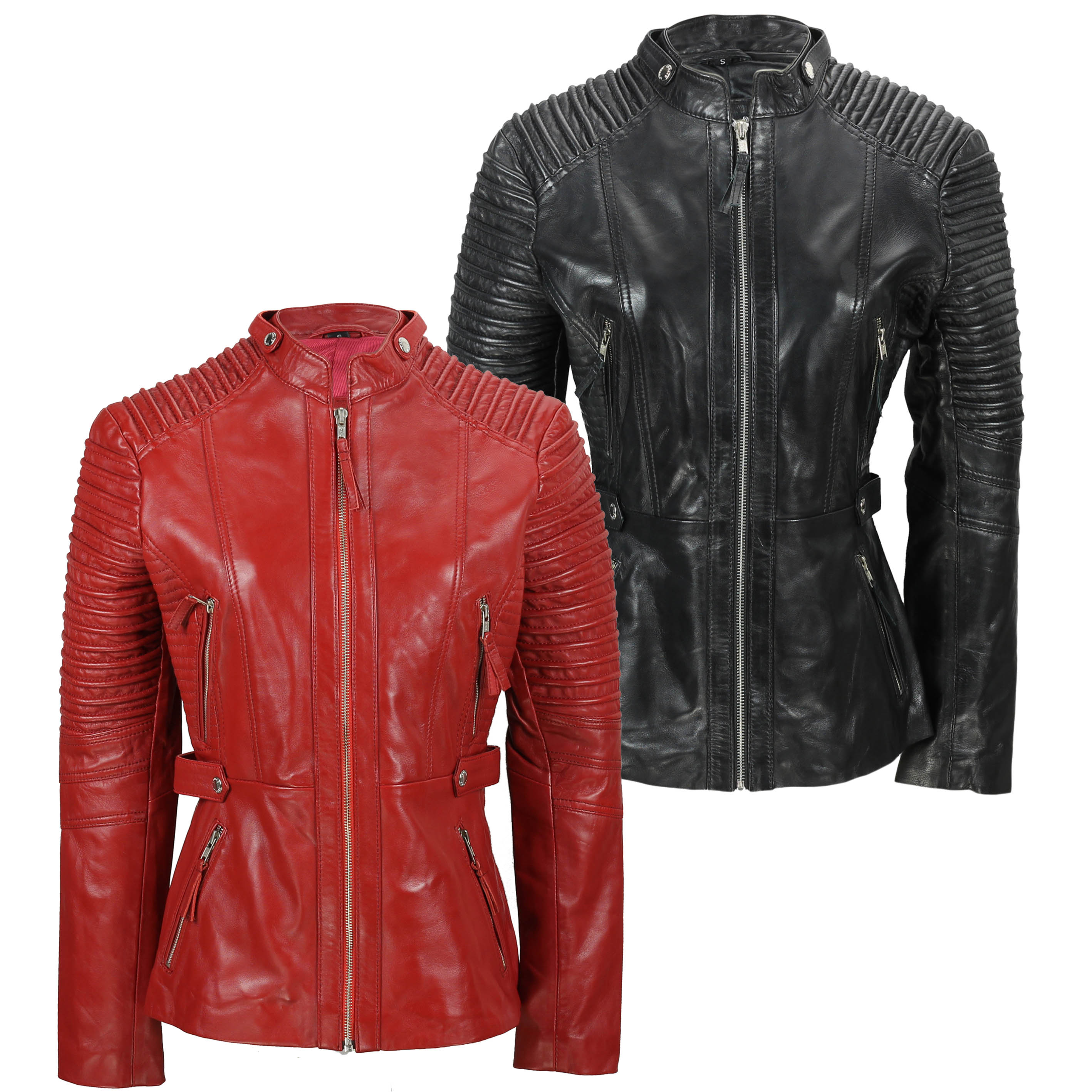 Ladies Womens Soft Real Leather Jacket Long Biker Style