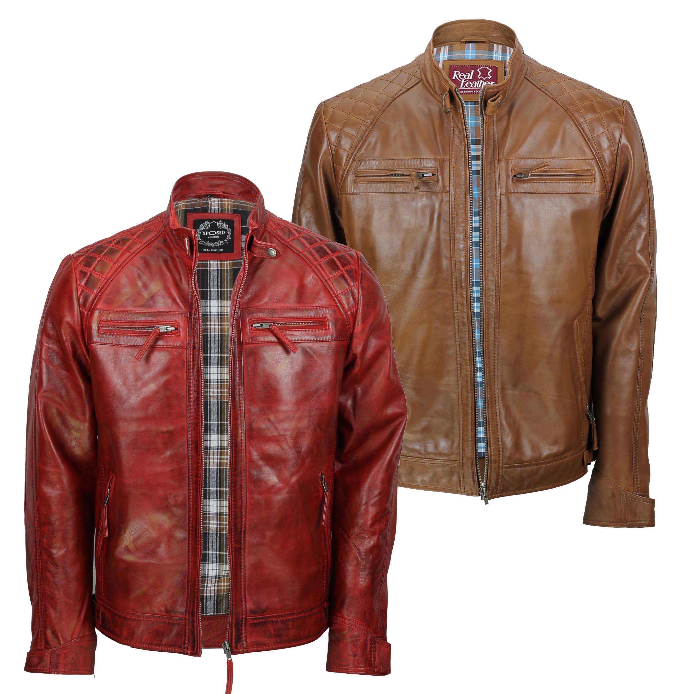 Mens Genuine Leather Biker Jacket Slim Fit Smart Casual Racer Vintage Urban Look
