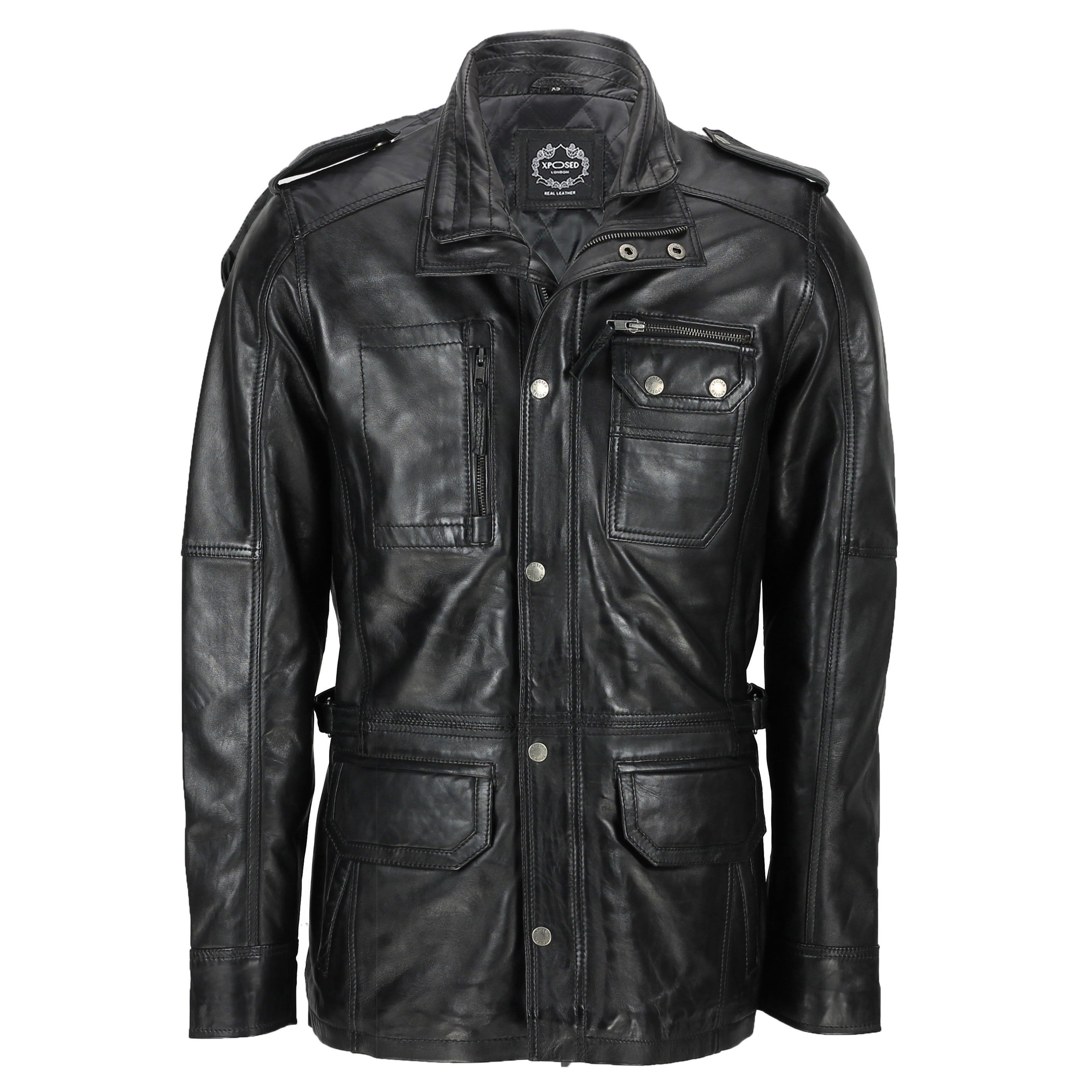 newest collection many choices of suitable for men/women Details about New Mens Classic Black Soft Wax Real Leather Smart Vintage  Jacket Military Coat
