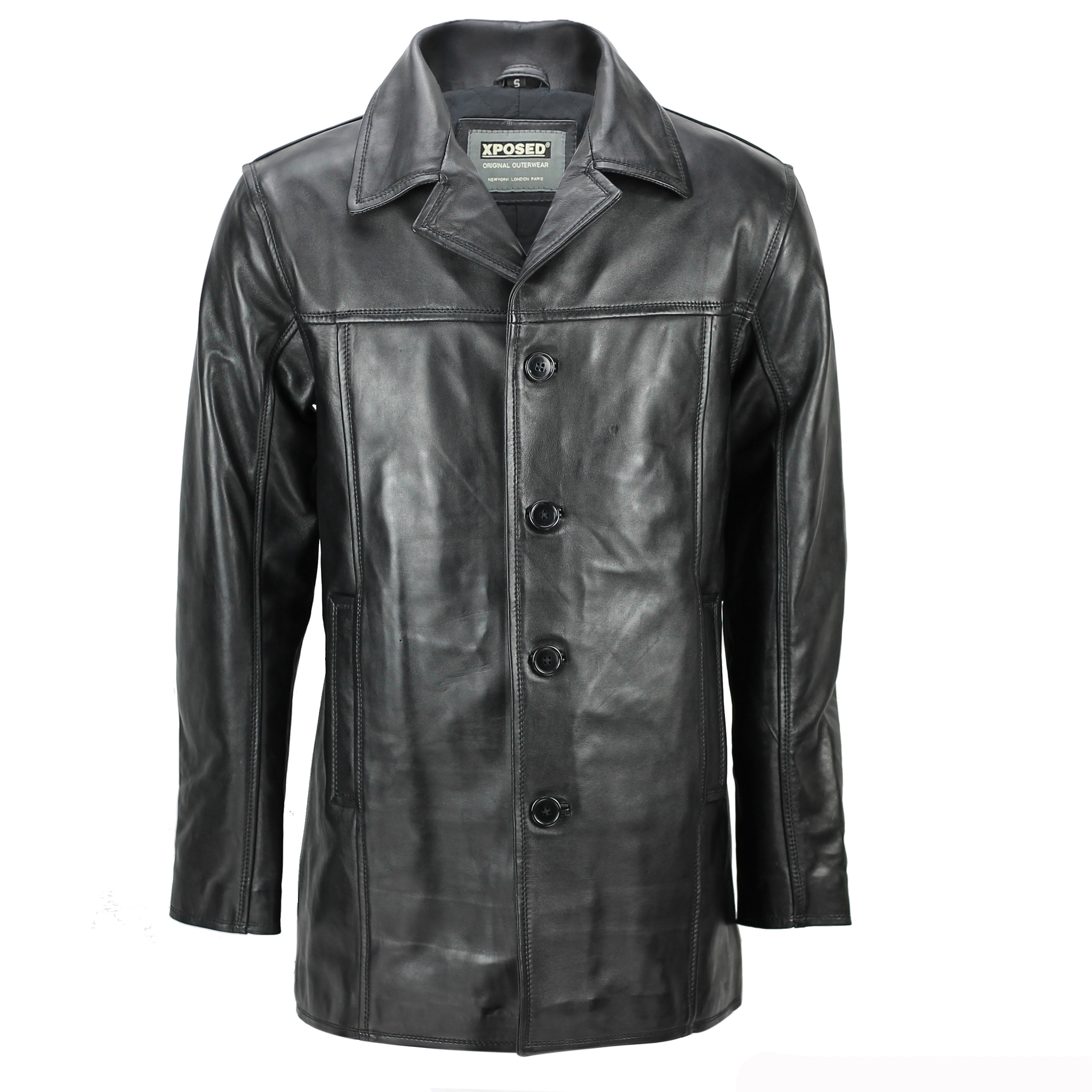 world-wide renown big clearance sale better price for Details about Mens Real Leather Mid 3/4 Length Vintage Smart Casual Button  Black Reefer Jacket
