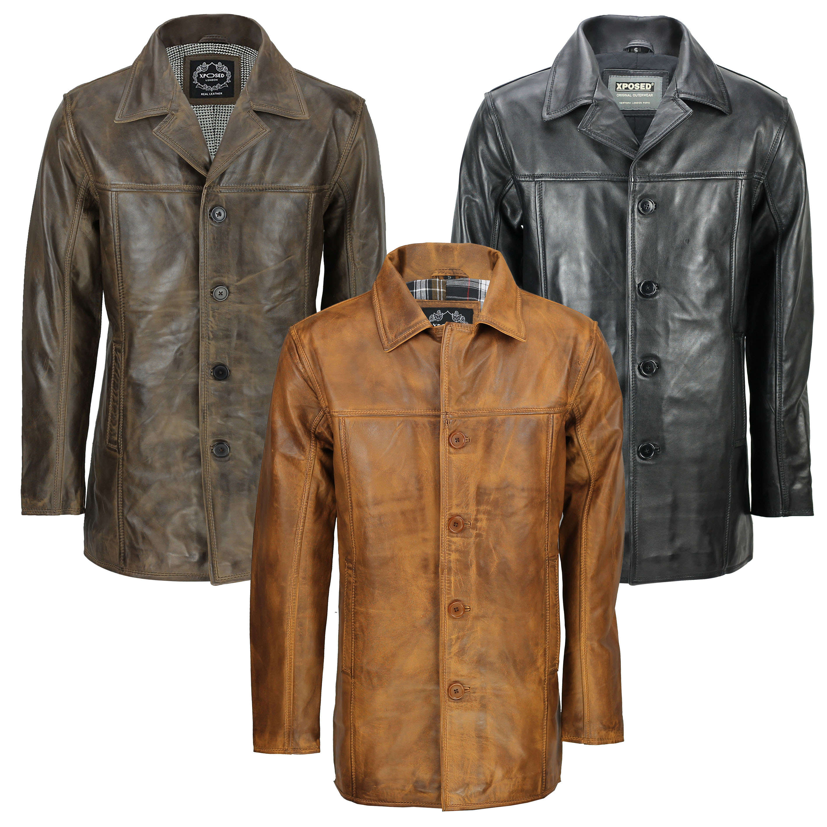 Mens Black Real Leather 3//4 Mid Length Vintage Jacket Smart Casual Classic Coat